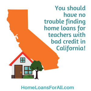 No down payment home loans in California for teachers